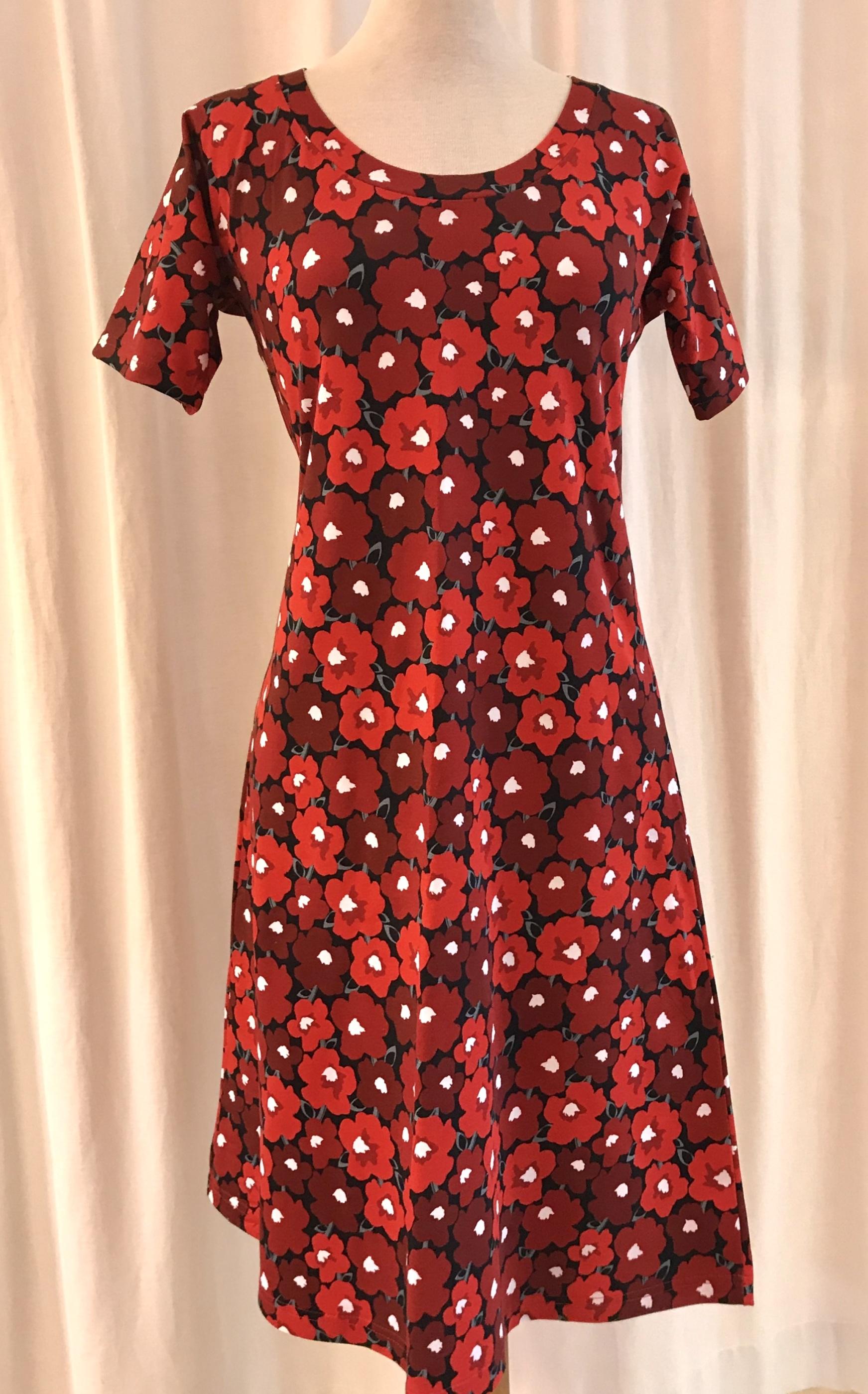 Klänning dahlia trikå bomull Poppy retro röd SaraLaholm unik design