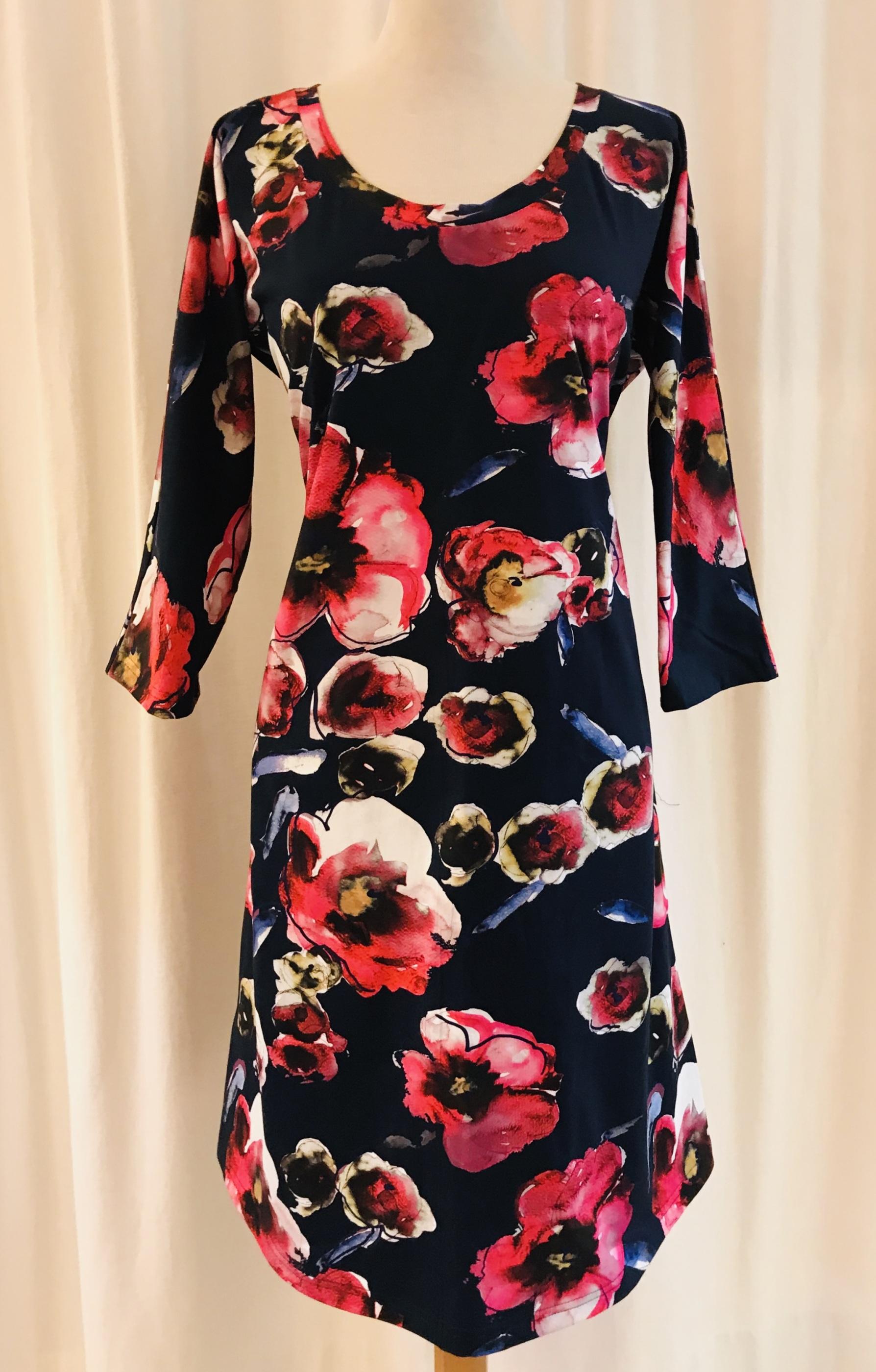 Dahlia trikå klänning bomull anemon SaraLaholm unik design