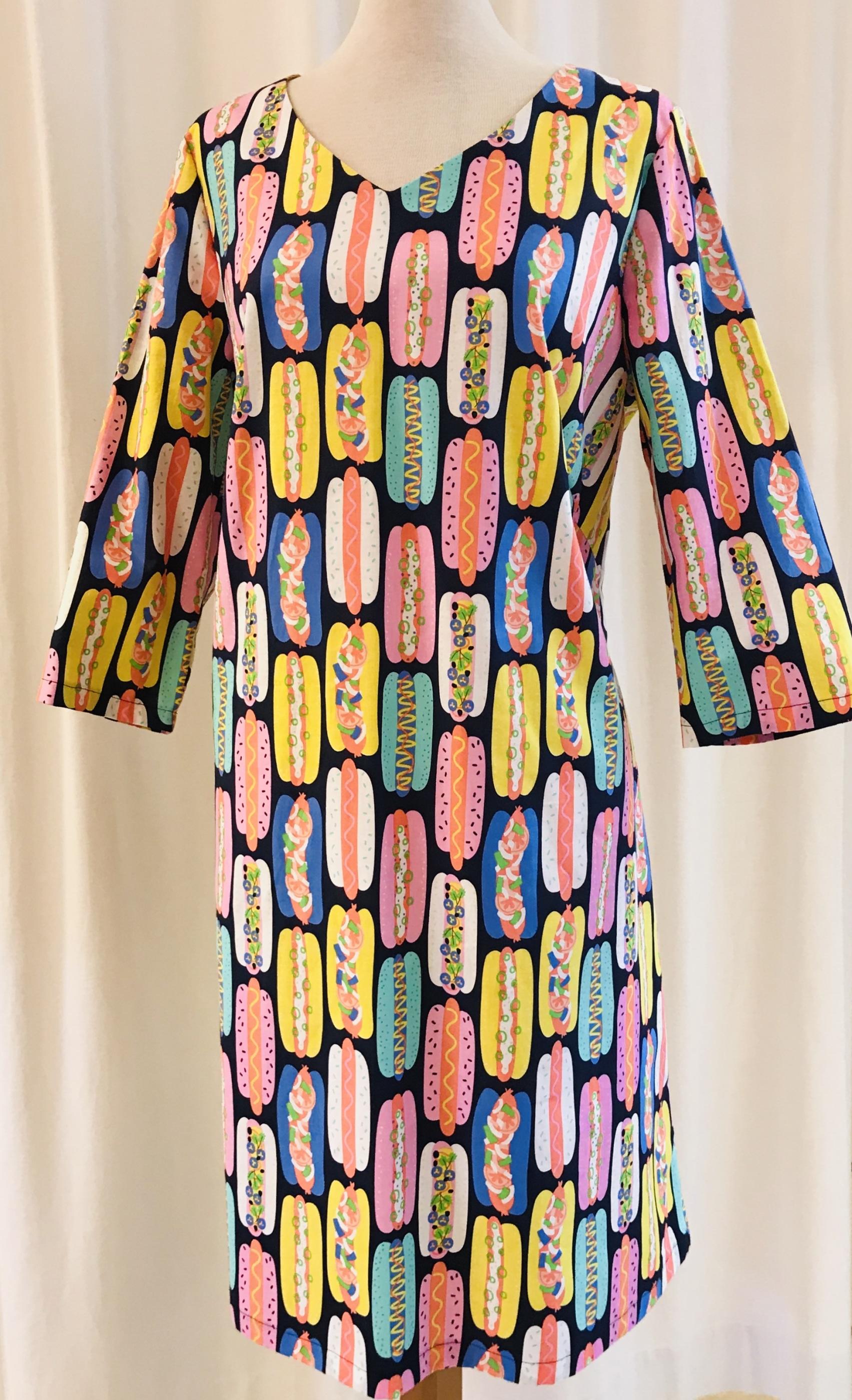 Solbritt klänning bomull korv med bröd unik design SaraLaholm