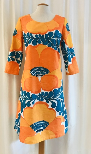 Klänning Solbritt sommarretro orange bomull unik design SaraLaholm