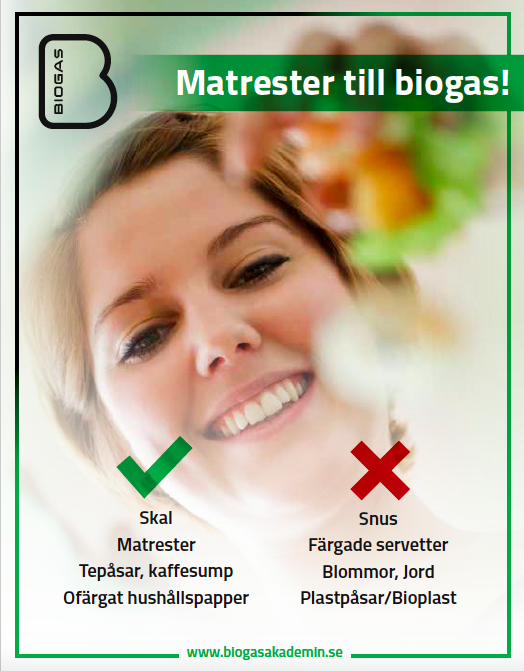 Food waste for biogas! Yes: peels, leftovers No: snuff, colored napkins, flowers, plastic bags