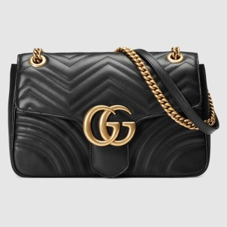 Gucci GG Marmont Matelassé Medium Shoulder Bag - Black