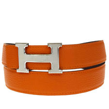 Hermes Belt - Orange/Silver
