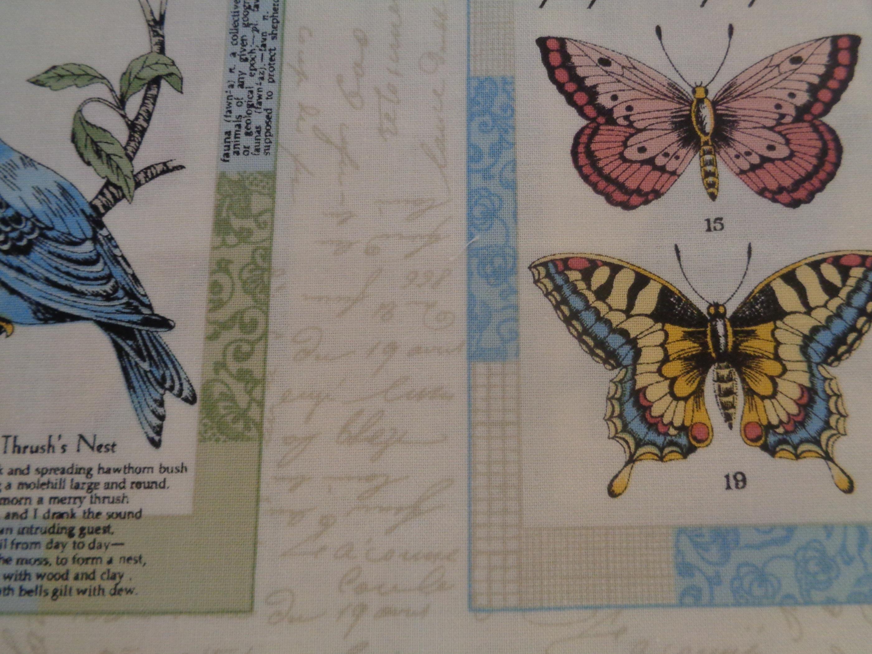 Mönstrat bomullstyg/quilttyg - Vintage Journal Postcard Labels