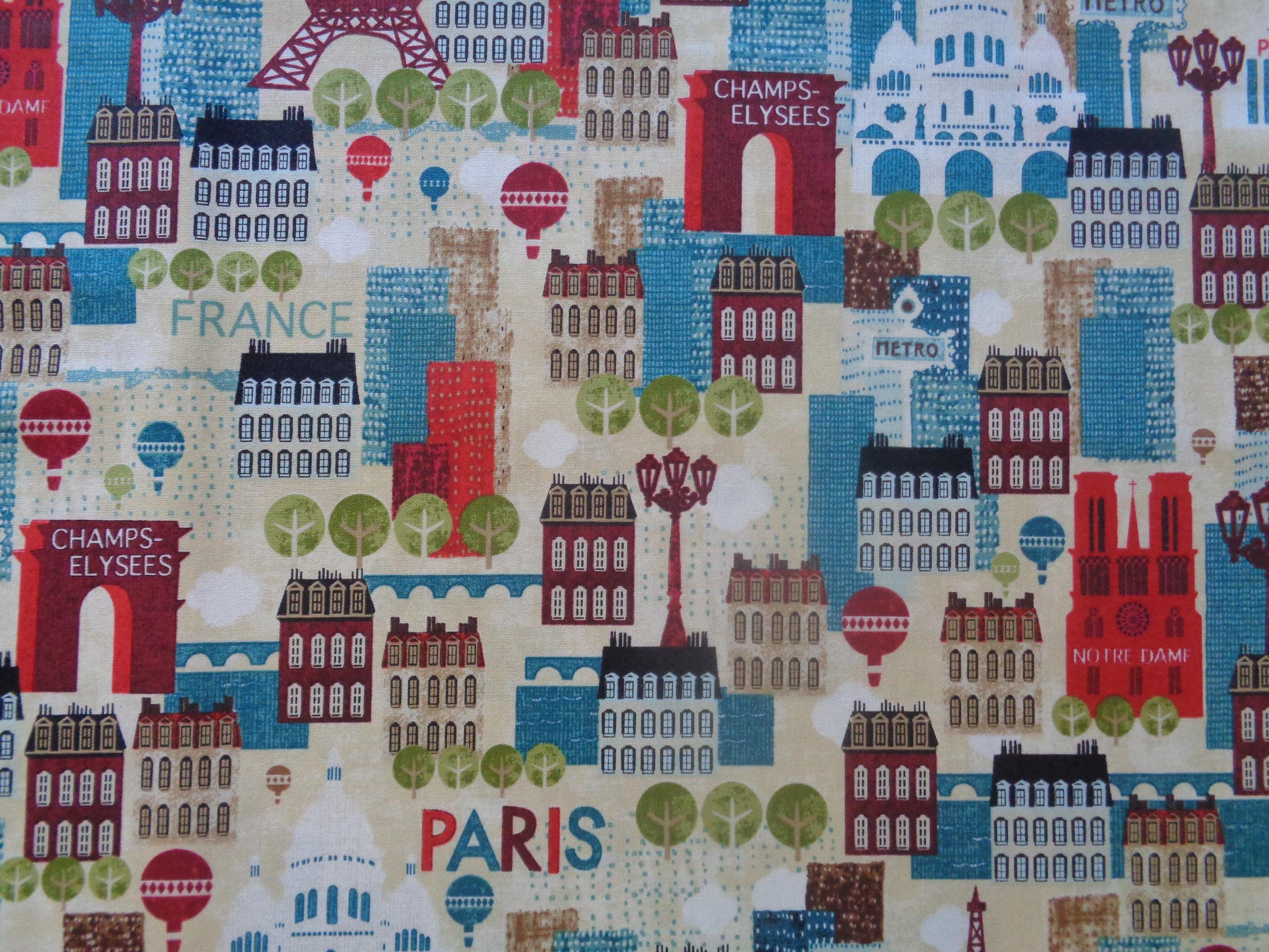 Mönstrat bomullstyg/quilttyg - Hello Paris