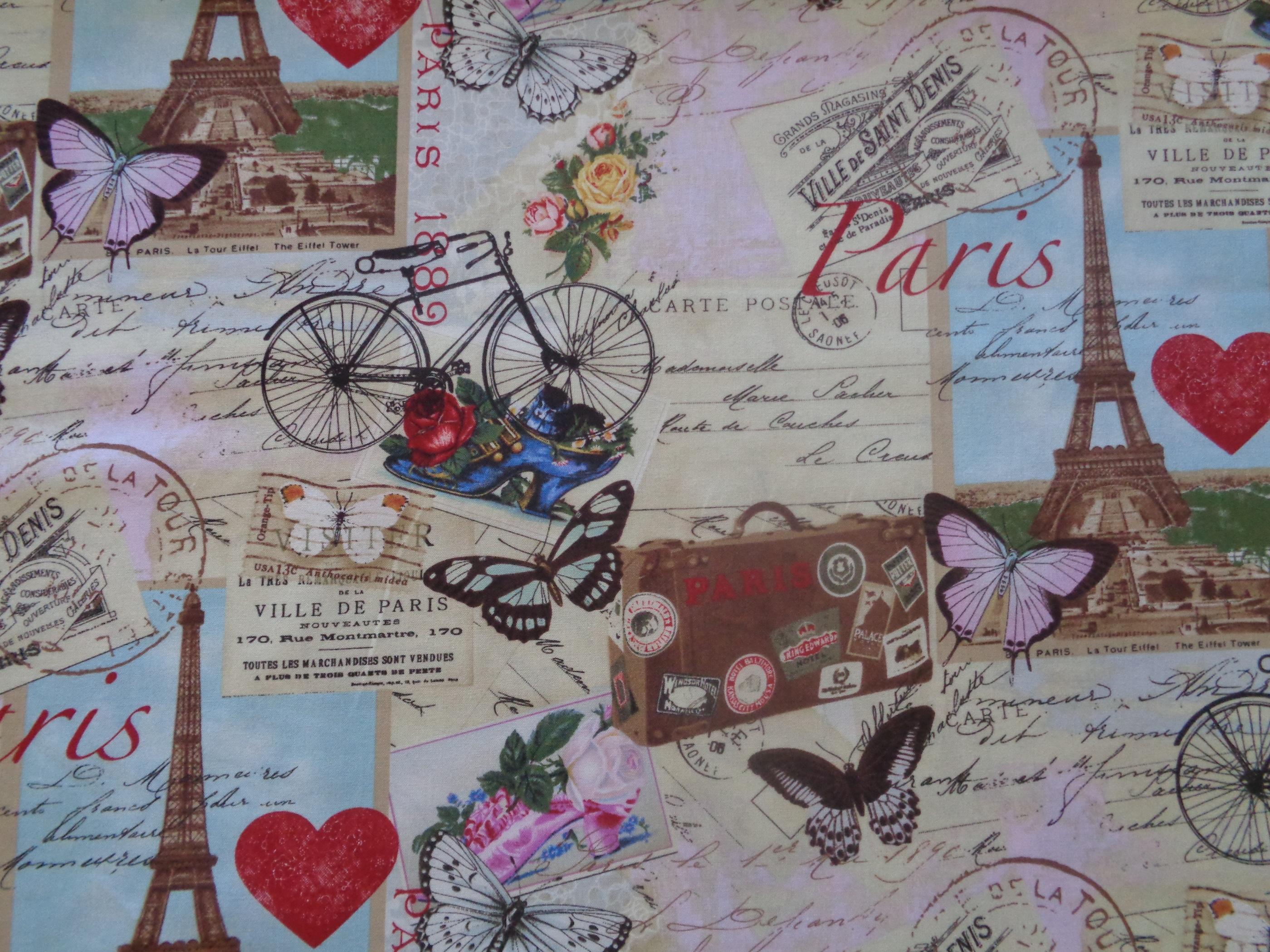 Mönstrat bomullstyg/quilttyg - Paris