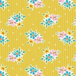 Bomullstyg blomma och prick (Tilda Nancy gul)