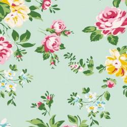 Bomullstyg blommigt (Tilda Shirly turkos)