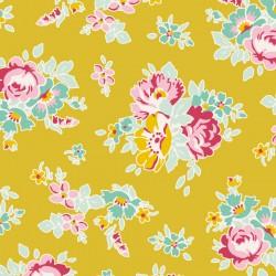Bomullstyg blommigt (Tilda Sue senapsgul)