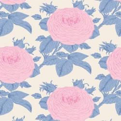 Bomullstyg Tilda Sunkiss Grandma's rose blå