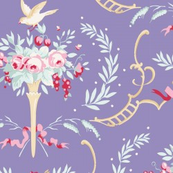 Bomullstyg blommotiv blått (Tilda Old Rose)