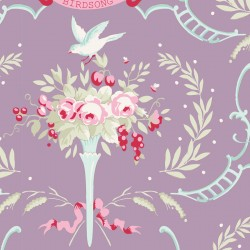 Bomullstyg lila blommönster (Tilda Old Rose)