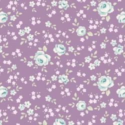 Bomullstyg lila blommor (Tilda Old Rose)