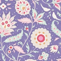 Bomullstyg blomrankor blått (Tilda Bon Voyage)