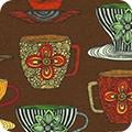 Bomullstyg kaffemuggar brun (Robert Kaufman)