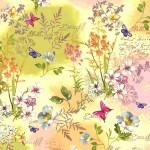 Bomullstyg gult - rosa blommor (Mon Ami)