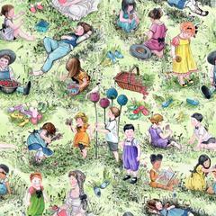 Bomullstyg grönt gräs (Picnic Kids)