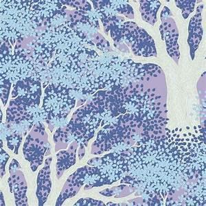 Bomullstyg landskap blått (Woodland Juniper Blue)