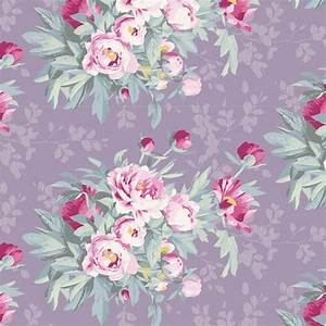 Bomullstyg Tilda bukett lila (Woodland Hazel Lavender)