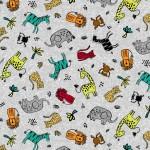 Bomullstyg multifärg vilda djur (Michael Miller)