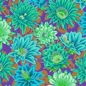 Bomullstyg turkos-gröna blommor (Cactus Flower)