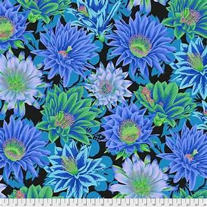 Bomullstyg blå blommor (Cactus Flower)
