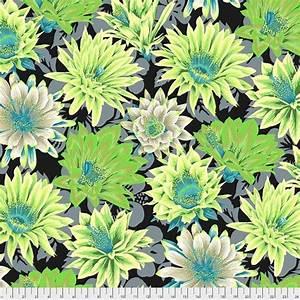 Bomullstyg limegröna blommor (Cactus Flower)