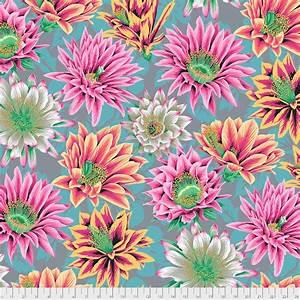 Bomullstyg cerise-rosa blommor (Cactus Flower)