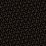 Bomullstyg brunsvart bladmönster (Makower)