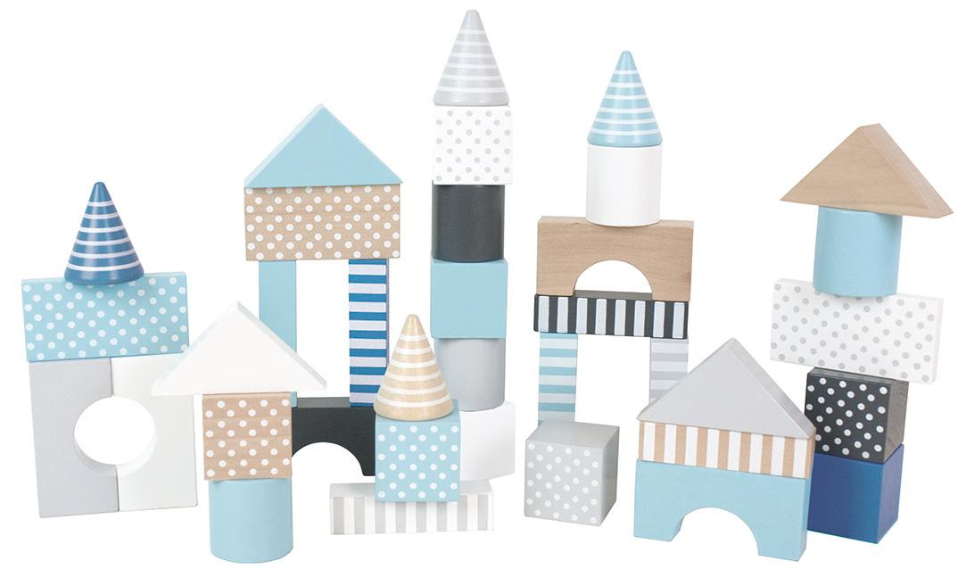 Byggklossar i blåa toner