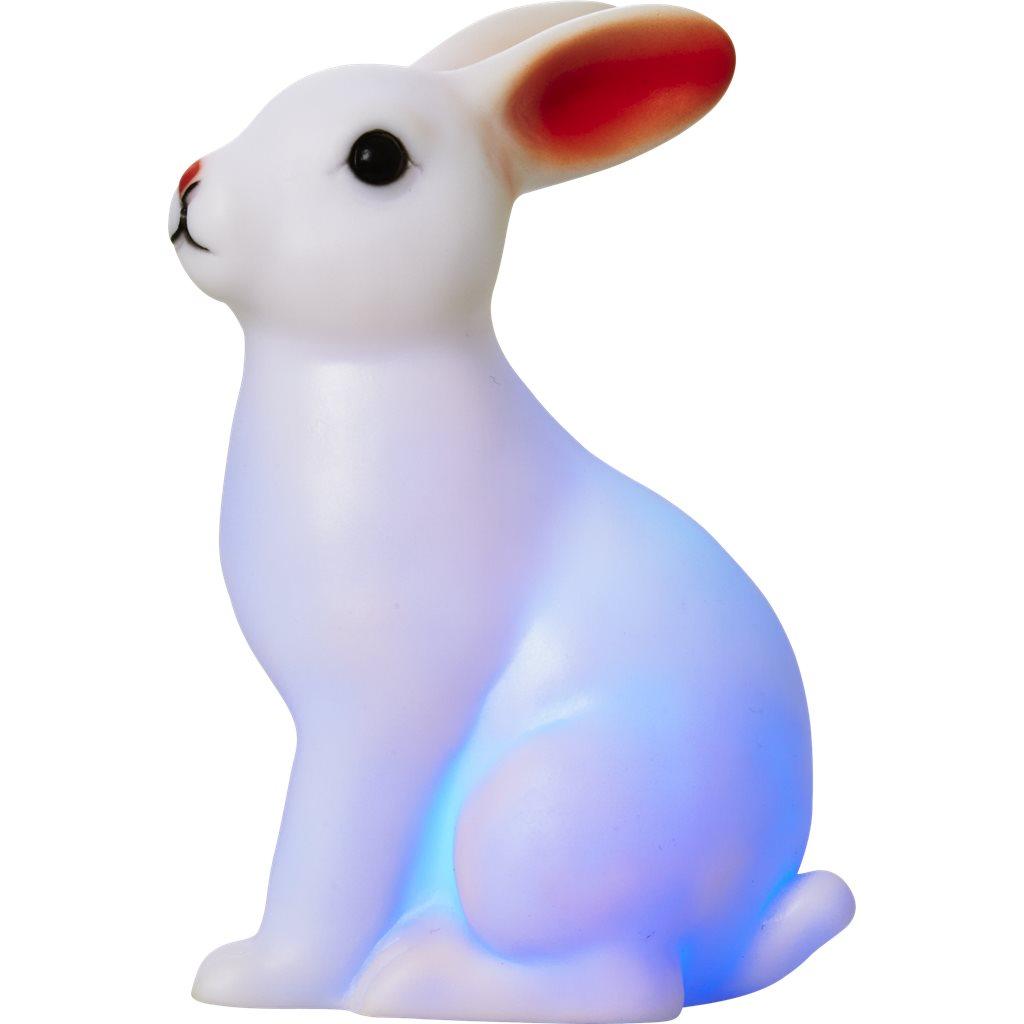 Kanin som skiftar färger i blått