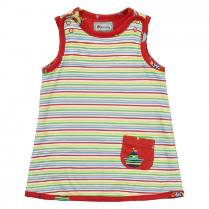 Vändbar klänning Rainbow Ark randig