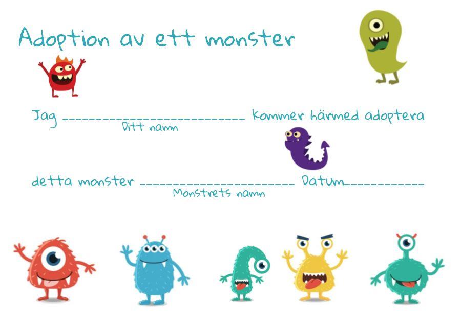 Certifikat Adoptera monster