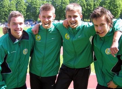 Linus Vigert, Love Fältström, André Vadström-BJörk och Henrik Wedberg. Bronskillar på 4x100m i P19!