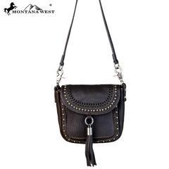 Crossbody handbag med tofs - kaffe - Crossbody handbag - kaffe