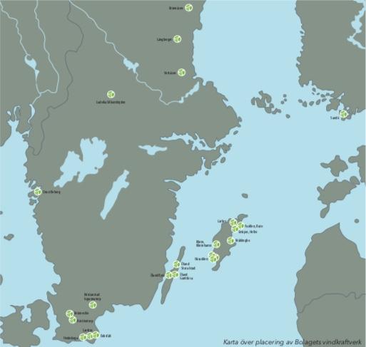 Vindkraftverkens placering. Källa: Slitevind.se, Bolagsbeskrivning Nasdaq First North