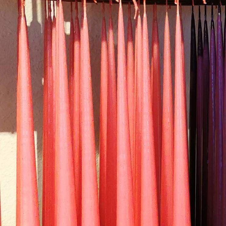 Lackade ljus 100% parafin färg rosa Skattkistan