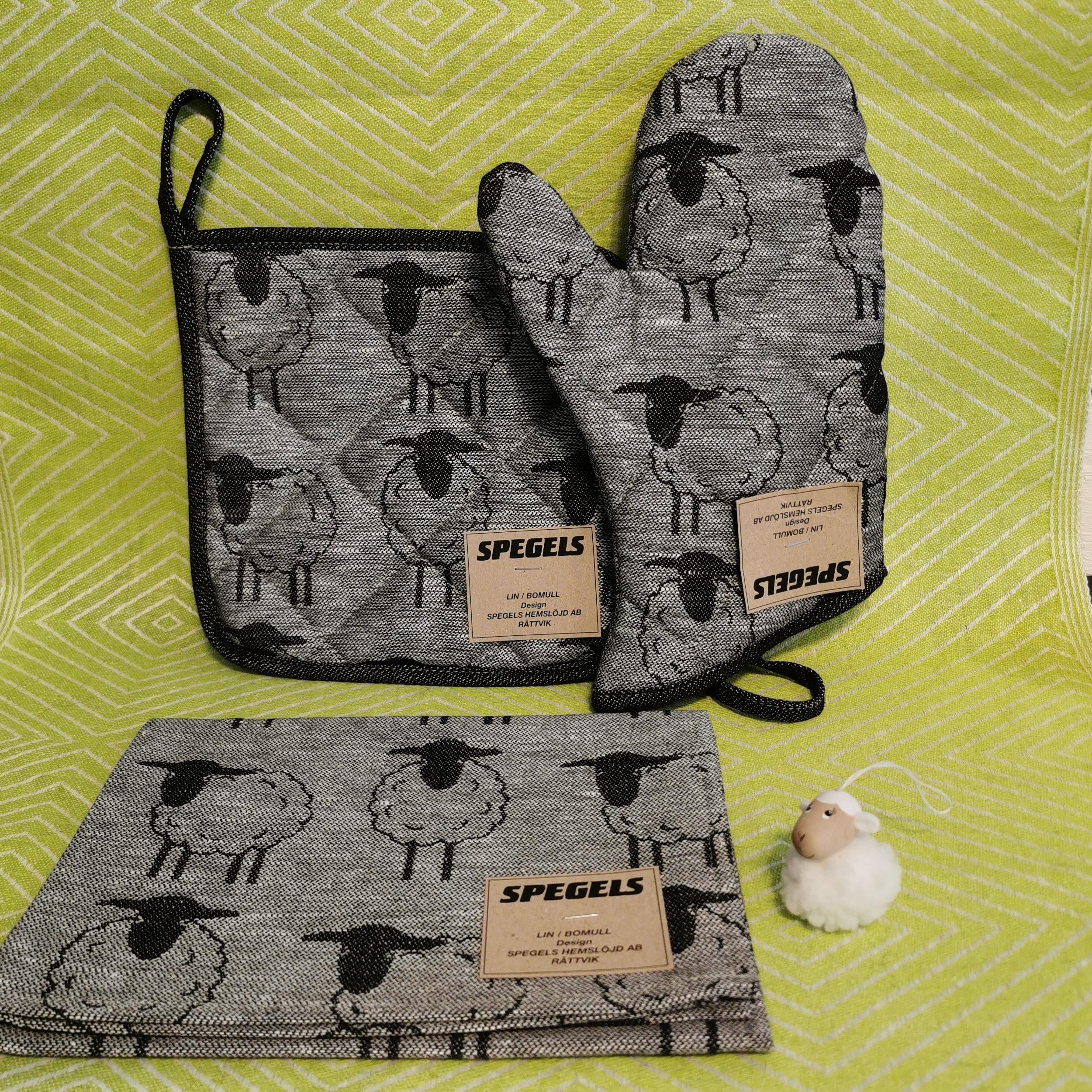 Grytlapp, grytvante, handduk grå med fårmotiv Skattkistan