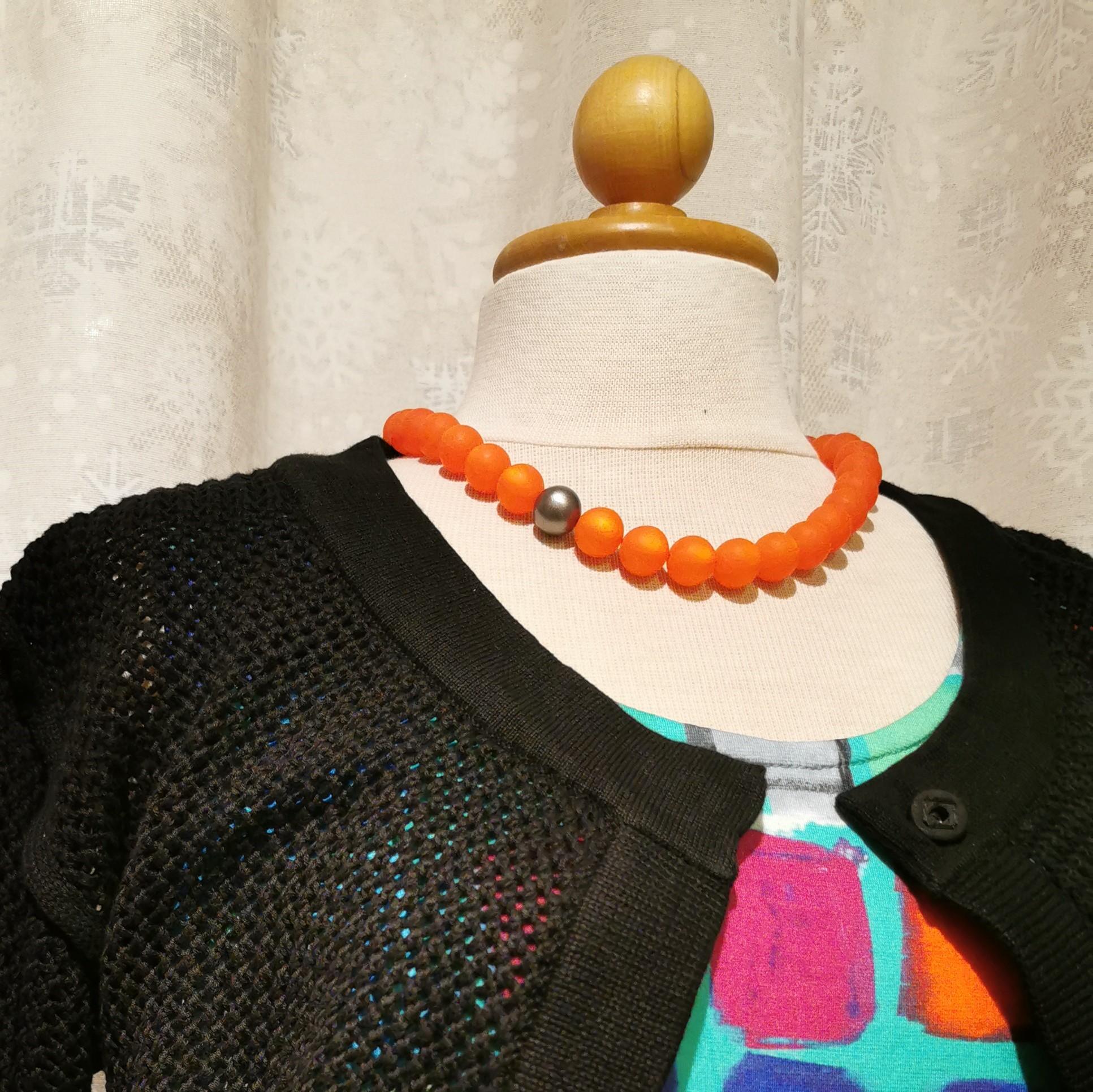 "Halsband ""Marie"" 45-50 cm - 14mm orange"