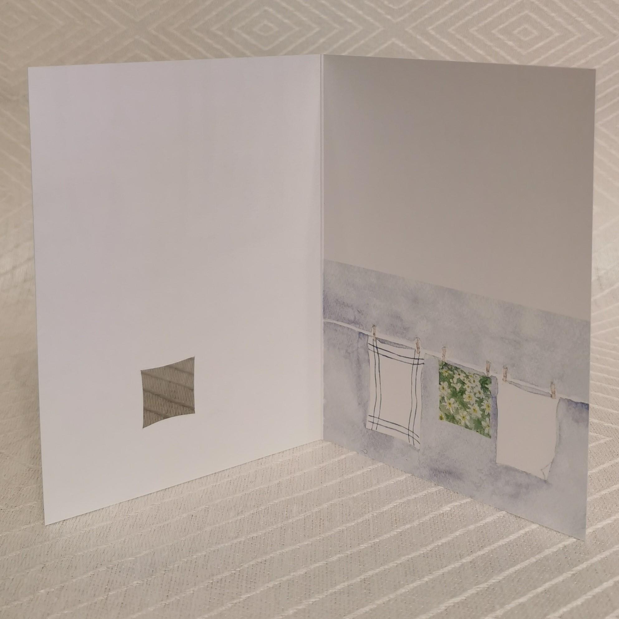 Vikt kort i akvarell med surprise insidan