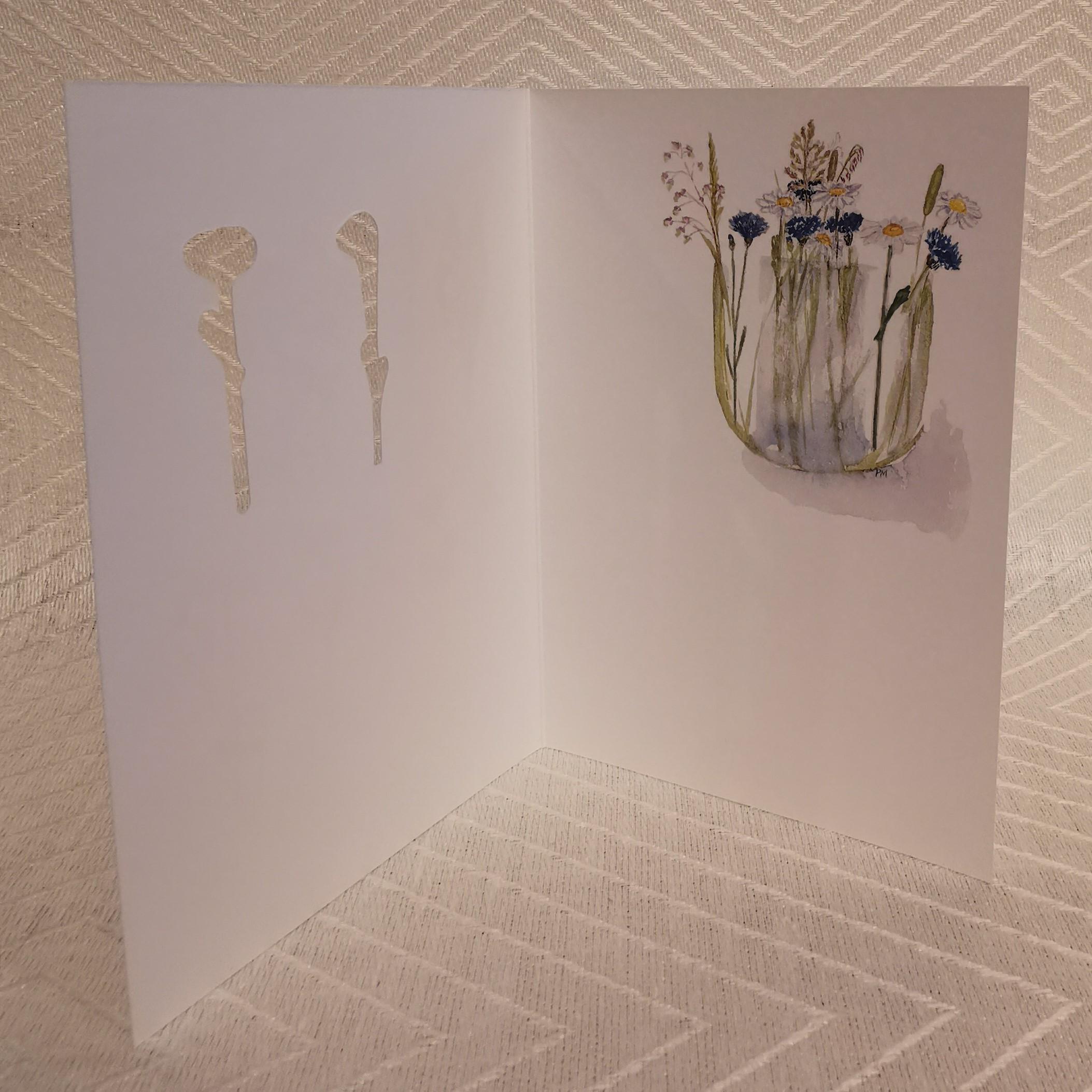 Vikt kort i akvarell med surprise blommor på rad insidan