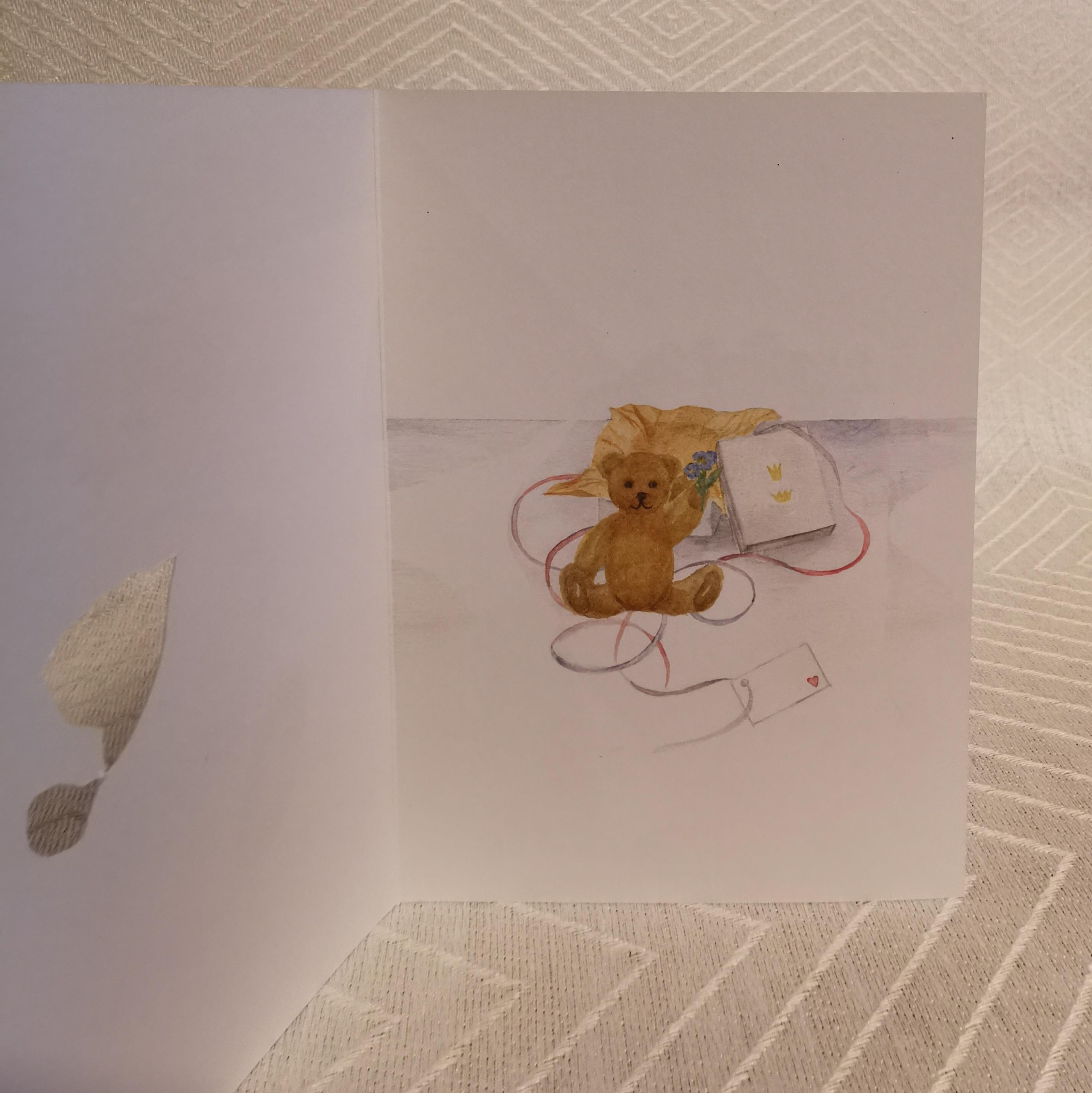 Vikt kort i akvarell med surprise Nalle insidan