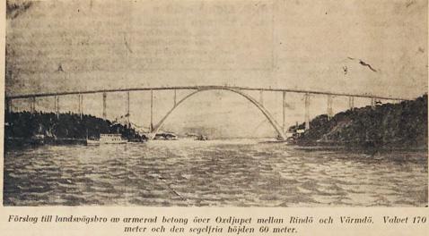 Professor Otto Lintons förslag till landsvägsbro över Oxdjupet mellan Rindö och Värmdö. Lidingö Tidning.