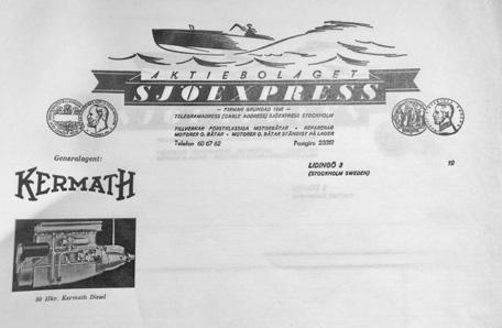 Sjöexpress brevpapper minner om att man även var återförsäljare av Ketmath motorer, en amerikansk marinmotor som blev vanlig efter kriget. Lidingö Stadsarkiv.