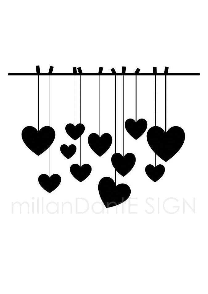 Hjärtan på tork grafiskt bröllop kärlek dop print millandante.se