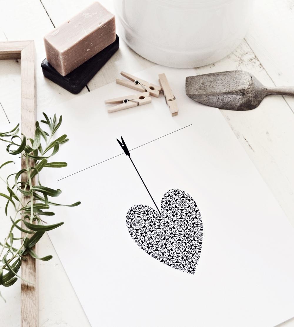 Ett hjärta på tork grafiskt print millandante.se