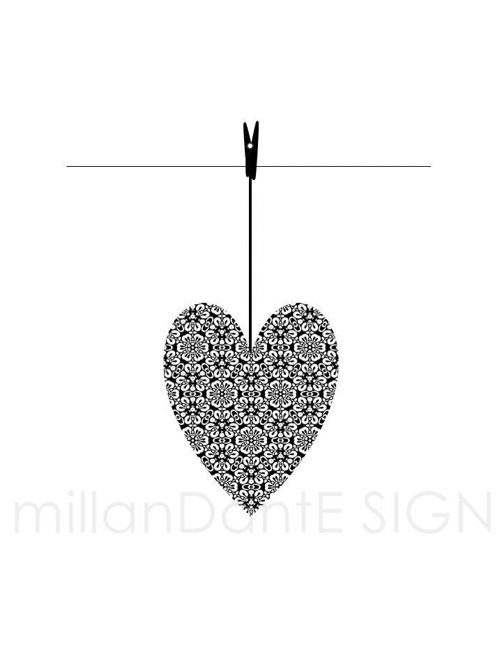 Ett hjärta på tork grafiskt print bröllop dop kärlek millandante.se