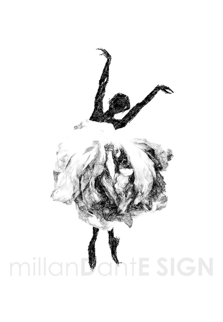 Dansa i en ros grafiskt print ballerina inredning present millandante.se