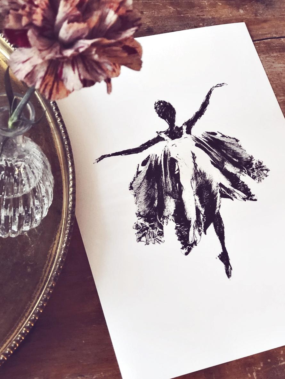 Dansa i en tulpan grafiskt print ballerina millandante.se