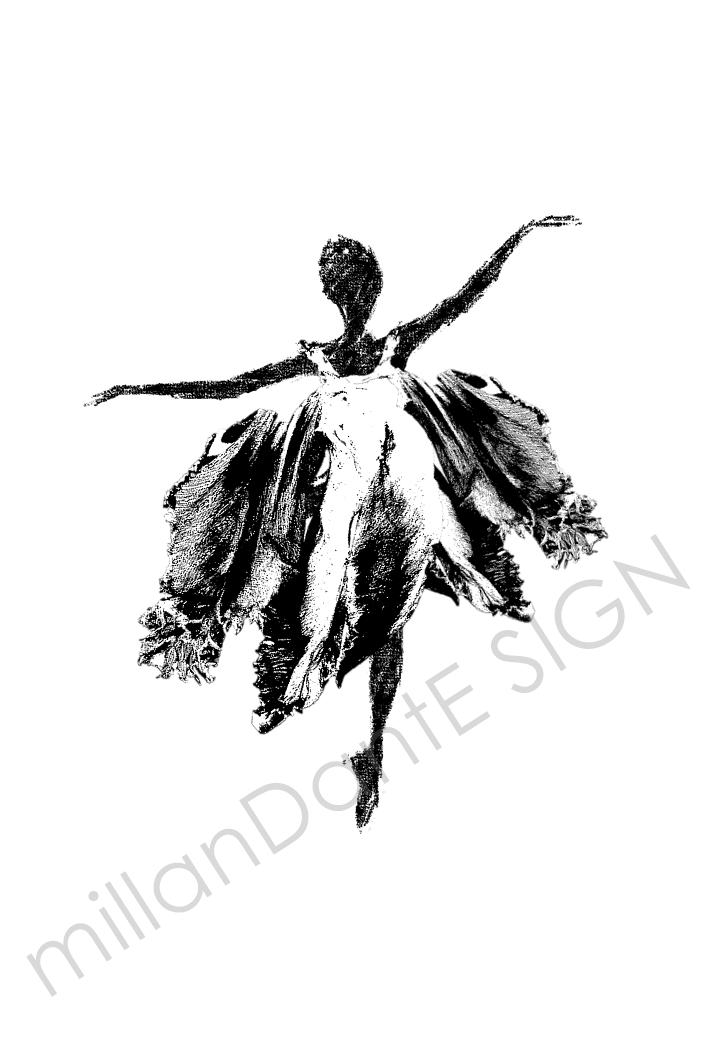Dansa i en tulpan grafiskt print inredning ballerina design millandante.se